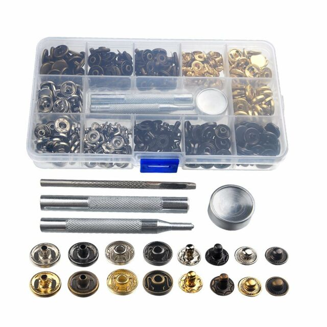 75pcs12mm Snap Fastener Kit Studs Button for Jackets Jeans Fixing Tool  Sewing