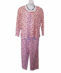NEW Knit Pajamas PLUS SIZE 1X 18W 20W Floral Top Pants Pointsettas L/S PJs NWT