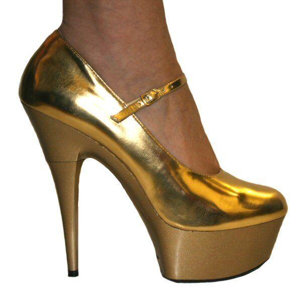 Epinklla Chloe Sexy Epinklla Dolly Court shoes gold Patent