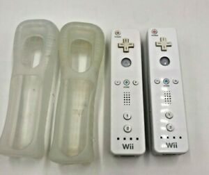 Lot-Pair-Set-Of-2-Two-OEM-Nintendo-Wii-Remote-Controllers-RVL-003-White