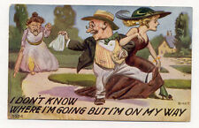 ANGRY WIFE CHEATING HUSBANK DEEPLY EMBOSSED OLD TAMMEN POSTCARD PC5803