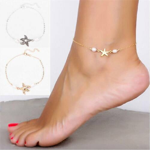Fashion Exquisite Starfish Anklet Handmde Pearl Ankle Bracelet Gold Silver Color