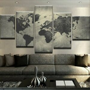 Decorative-World-Map-5-panel-canvas-Wall-Art-Home-Decor-Print-Poster