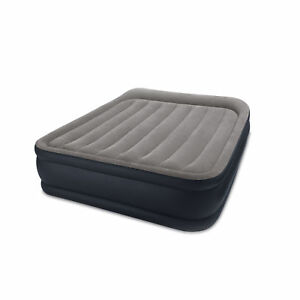 Intex Deluxe Pillow Rest Raised Blow Up Air Bed Mattress w/ Built In Pump, Queen