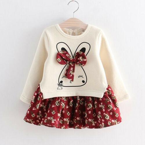 Toddler Kids Baby Girl Cartoon Rabbit Bunny Floral Princess Party Dress Clothes