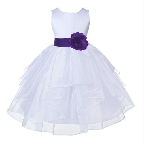 FORMAL FLOWER GIRL DRESS WEDDING BRIDAL GOWN BIRTHDAY RECITAL ORGANZA PRINCESS
