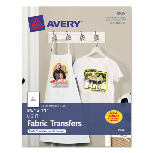 Avery Light Fabric Transfers for Inkjet Printers 8 1//2 x 11 White 18//Pack 8938