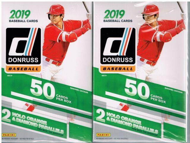 (2) 2019 Donruss Baseball Trading Cards 50c. HANGER Box LOT=Orange&DiamondAwe PC