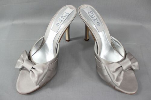 BNIB PURE BY DIANE HASSALL GREY SILK HEELED LEATHER BRIDAL SHOES SIZES 2-5.5