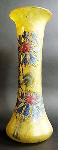 "Other French Art Glass Fine 13.5"" Legras Art Nouveau Mottled Yellow & Enameled Art Glass Vase C 1910 Drip-Dry"