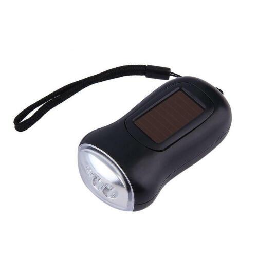 Mini Portable Hand Crank Dynamo LED Solar Powered Flashlight Camping Torch EH