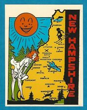 """VINTAGE ORIGINAL 1950'S RED HEAD CUTIE """"NEW HAMPSHIRE"""" PINUP TRAVEL WATER DECAL"""