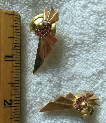 Retro Art Deco Ruby Earrings 14k Yellow & Rose Gol