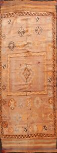 Antique Geometric Moroccan Oriental Tribal Runner Hand-knotted Area Rug 5x12 ft