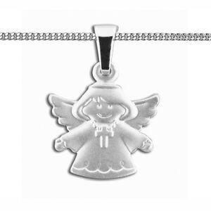 Kinder Weiß Gold 585 Schutz Engel Anhänger und Namen Gravur /& Kette Silber 925
