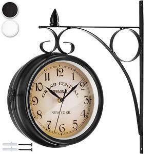 Double-Face-Horloge-Murale-Gare-Montre-Vintage-Retro-Style-New-York-Acier-Rond