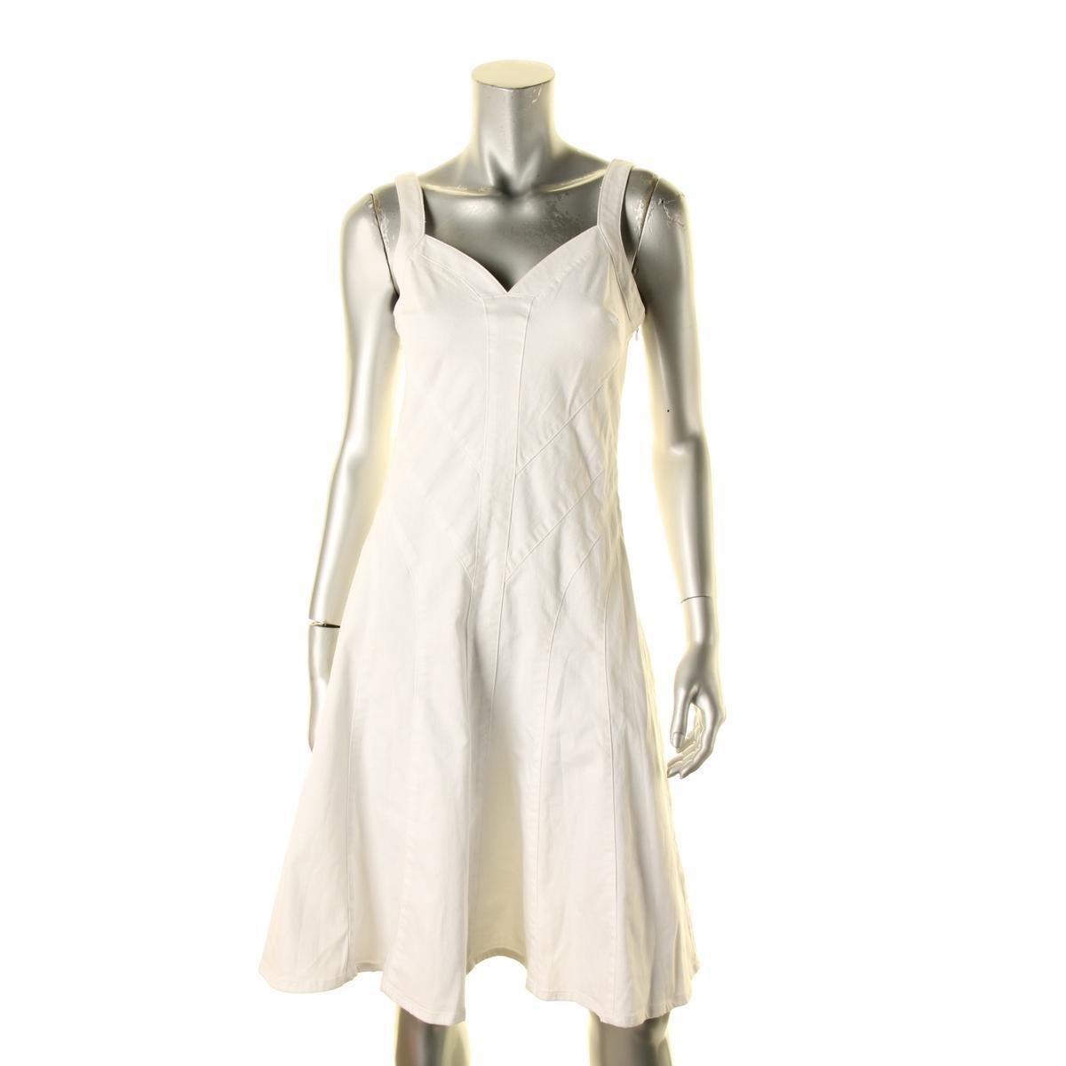 Lauren Ralph Ralph Ralph Lauren Women's New White Denim Stretch Sleeveless Sun Dress 10  125 c429cb