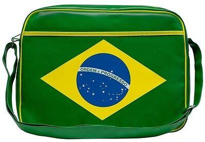 Brasilien Flagge - Tasche - Umhängetasche - Kunstleder - grün - LOGOSHIRT