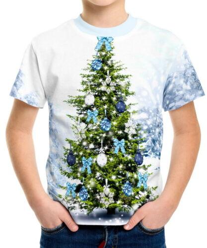 Xmas Tree Boys Kid Youth T-Shirts Tee Age 3-13 ael40952
