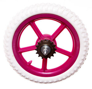 KIDS-11-034-Rear-PLASTIC-Bike-Bicycle-WHEEL-IN-FUCHSIA-PINK-AND-WHITE-Childrens