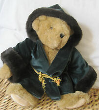 "VERMONT TEDDY BEAR COMPANY 15"" PLUSH BEAR WITH VELVET & FUR HOODED GREEN ROBE"