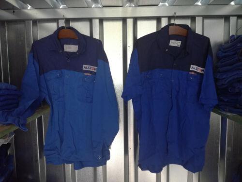 Ropa de trabajo camisa de trabajo azul Korn logo alstom limpiado diferentes tamaños
