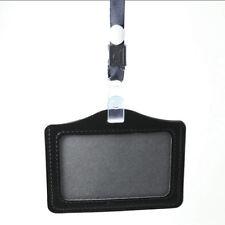 Useful ID Badge Holder Leather Case and Lanyard Black Horizontal PU Leather 1PC