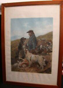 Hunting-Hunter-Gamekeeper-Scotland-Large-Etching-Original-1858-103x75