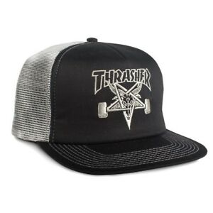 Thrasher-Magazine-EMBROIDERED-SKATE-GOAT-Skateboard-Trucker-Hat-BLACK-SILVER
