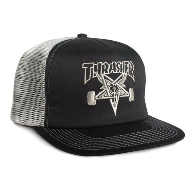 Thrasher Magazine EMBROIDERED SKATE GOAT Skateboard Trucker Hat BLACK SILVER 2a00cdb07a7