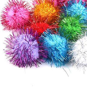 21pcs-in-Set-Lametta-Pompoms-Pompon-Baelle-Katzenspielzeug-Ball-3-5cm-Pompom-V4R4