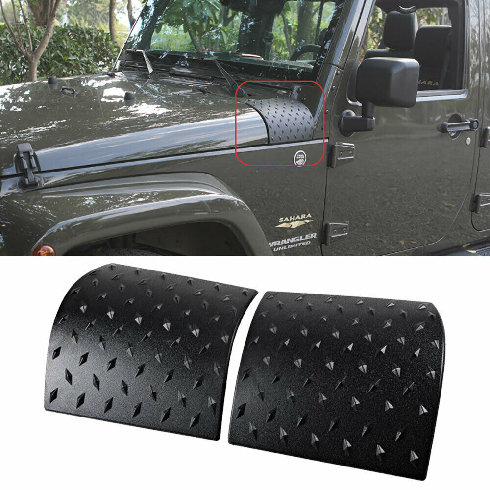 2Pc Hood Angle Wrap Protector Cover Mounted for Jeep Wrangler JK 2007-2018 Black