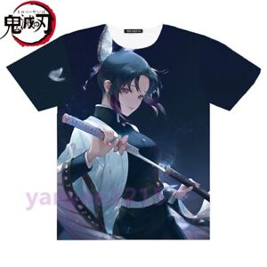 Silver Basic T-Shirt Stampa Giapponese Anime Demon Slayer Kanao Shinobu Zenitsu Shirt Girocollo Vestiti