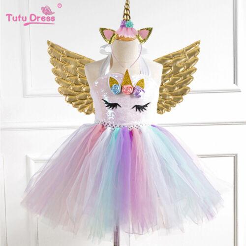 Flower Girls Unicorn Tutu Dress Sequin Princess Girls Birthday Party Dress
