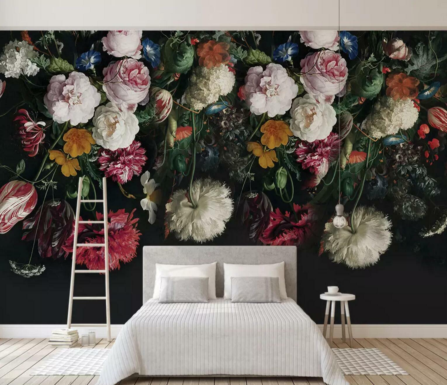 3D Flowers Paint 4 Wall Paper Exclusive MXY Wallpaper Mural Decal Indoor wall AJ