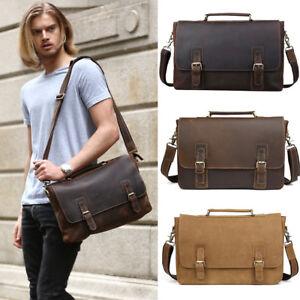 Vintage-Men-039-s-Leather-14-034-Laptop-Briefcases-Satchel-Shoulder-Bag-Work-Sling-Bag