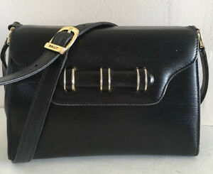 2c6ae501b5c10 Details about Bally Vintage Black Leather Shoulder Bag . Made In Italy