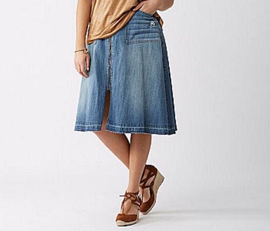 Lane Bryant Zip Front bluee Jean Denim Skirt Plus Size 24 Unfinished Hem NWT