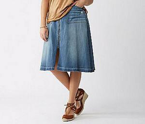 4cec511b0f9aa Lane Bryant Zip Front Blue Jean Denim Skirt Plus Size 18 2X ...
