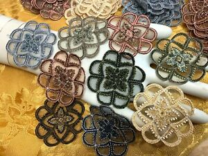 CELTIC-APPLIQUE-3-75-034-Embroidered-on-sheer-Hand-Sewn-1pc-Glass-Beads-Scallop