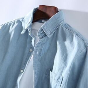 Mens-Cotton-Long-Sleeve-Slim-Classic-Fit-Solid-Chambray-Denim-Shirt