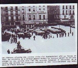 1994 -- RENNES 1943 OBSEQUES VICTIMES BOMBARDEMENTS - France - K554 1994 -- RENNES 1943 OBSEQUES VICTIMES BOMBARDEMENTS il ne s'agit pas d'une carte postale , mais d'un beau document paru dans la rare histoire de la bretagne, en 1994 le document GARANTI D'EPOQUE est en tres bon état et présenté sur carton - France