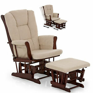 NEW HAUCK WALNUT BEIGE GLIDER NURSING FEEDING CHAIR STOOL ARMCHAIR