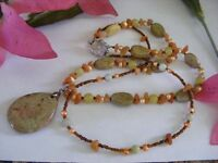 Picasso & Muger Jasper, Honey Jade, Freshwater Pearls Beaded Necklace