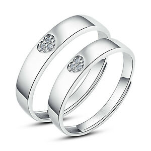 19ca0a3b1b418 Details about His and Hers Rings Couples Promise Rings Adjustable Open Ring  set