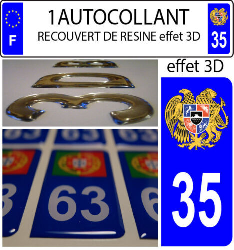 1 sticker plaque immatriculation auto DOMING 3D RESINE ARMOIRIE ARMENIE DEPA 35