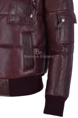 Men/'s Puffers Hooded Bomber Jacket Cherry Real Lambskin Leather Pilot 6 Puffer