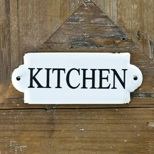 """Kitchen White and Black 7/"""" Metal Sign"""