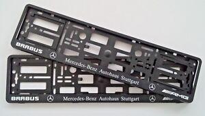 2x-BLACK-NUMBER-PLATE-SURROUNDS-HOLDER-FRAME-FOR-AMG-BRABUS-MERCEDES-BENZ-CAR