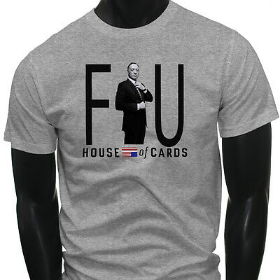 HOUSE OF CARDS FU FRANK UNDERWOOD Mens Gray T-Shirt